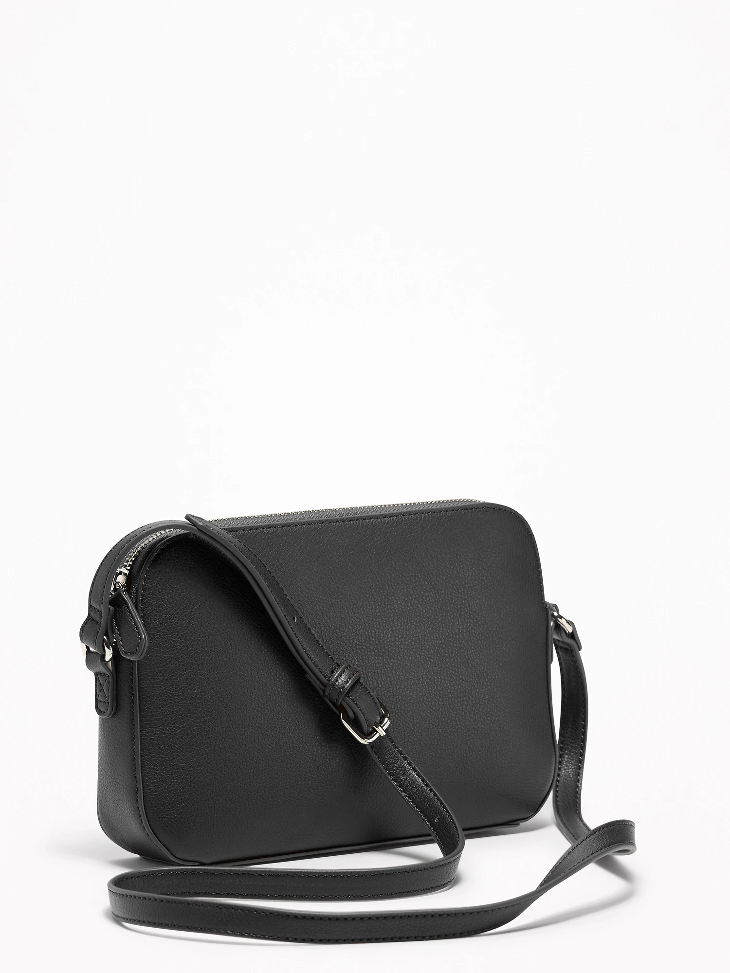 Faux-Leather Cross-Body Bag for Women - Black