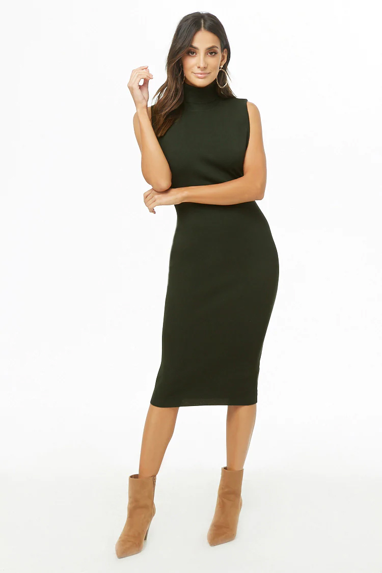 Ribbed Turtleneck Dress - Hunter Green