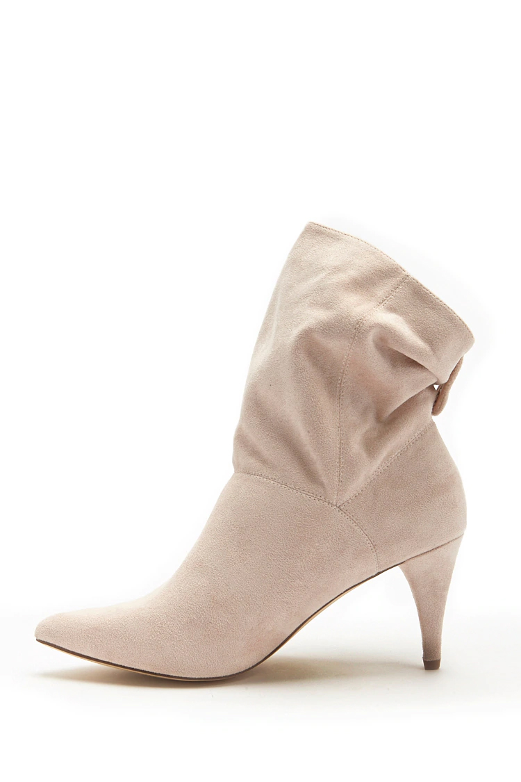 Faux Suede Ankle Boots - Blush