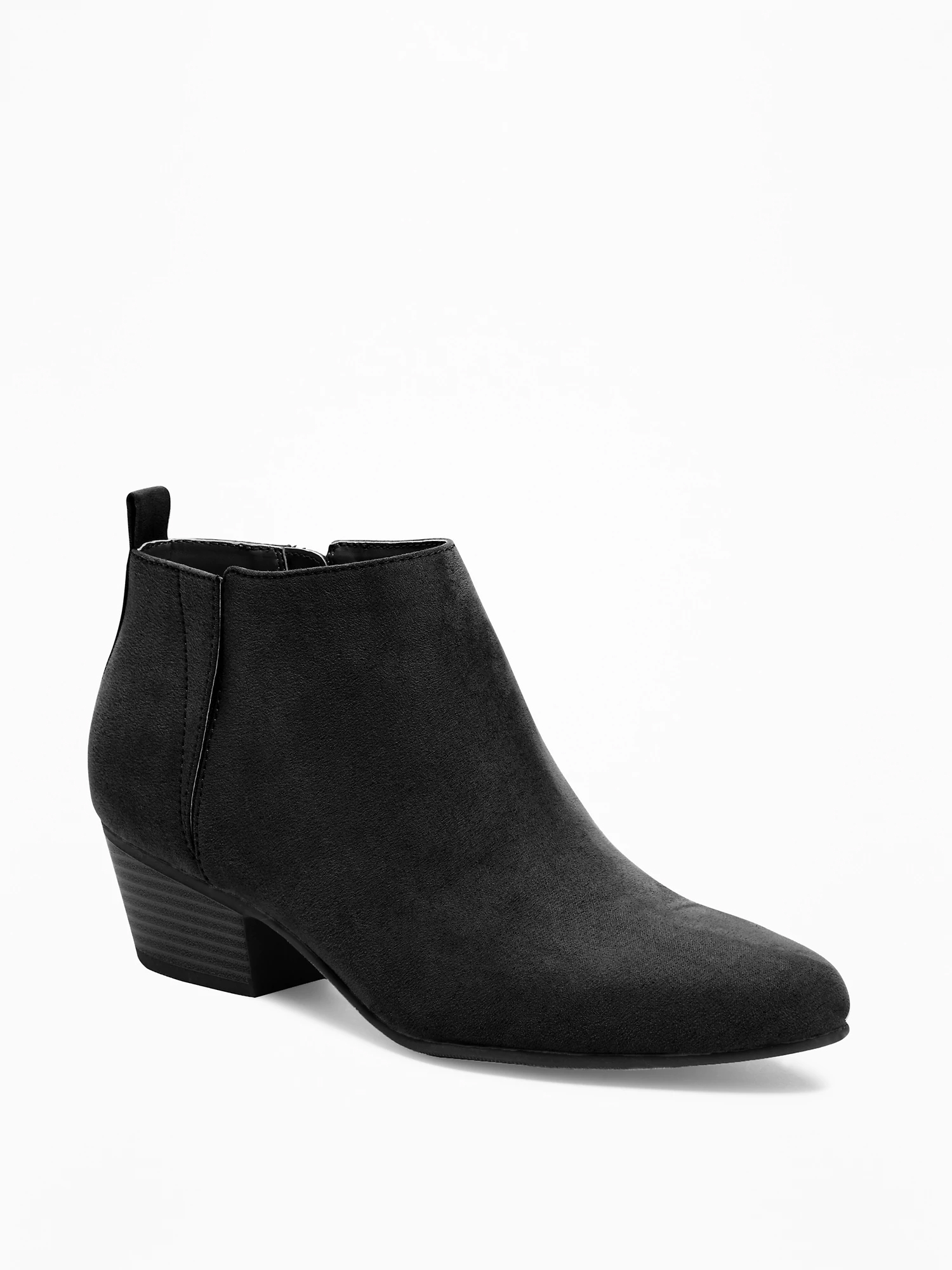 Sueded Ankle Boots for Women - Black