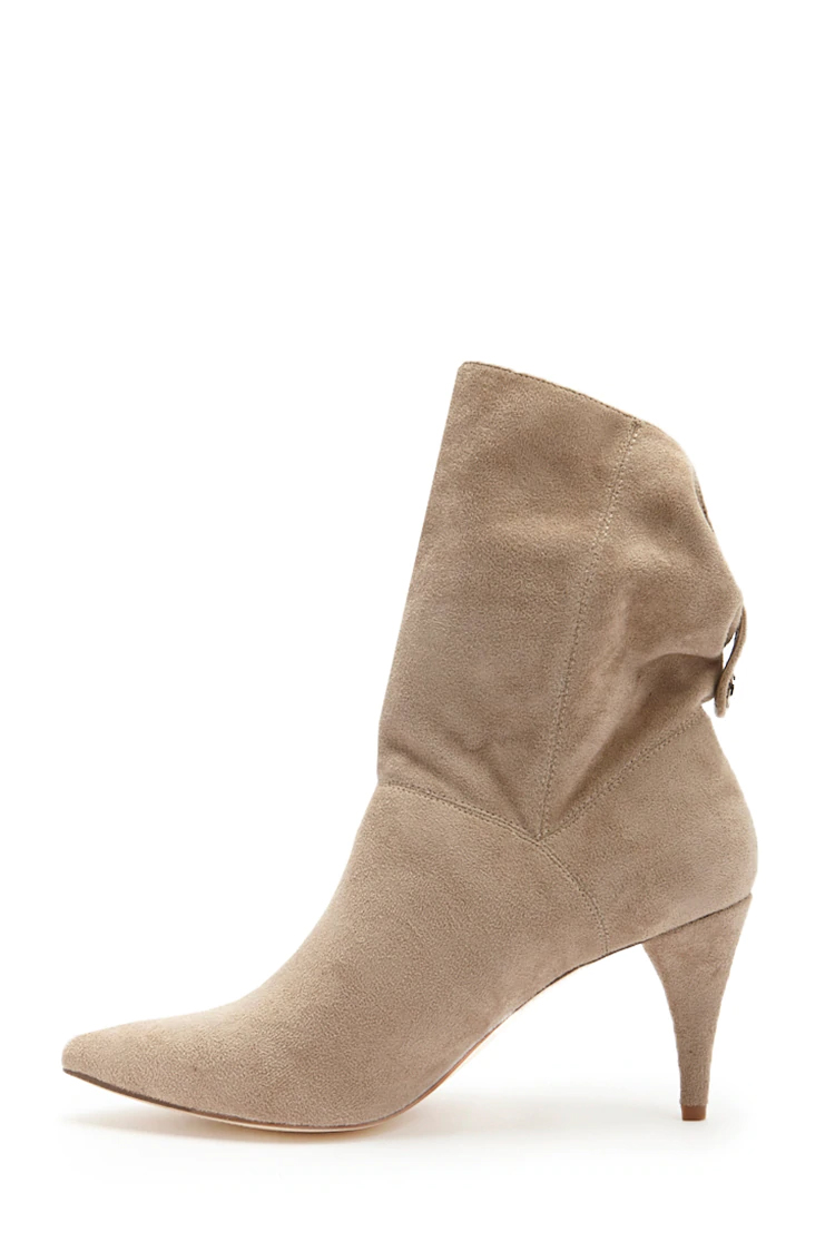 Faux Suede Ankle Boots - Taupe