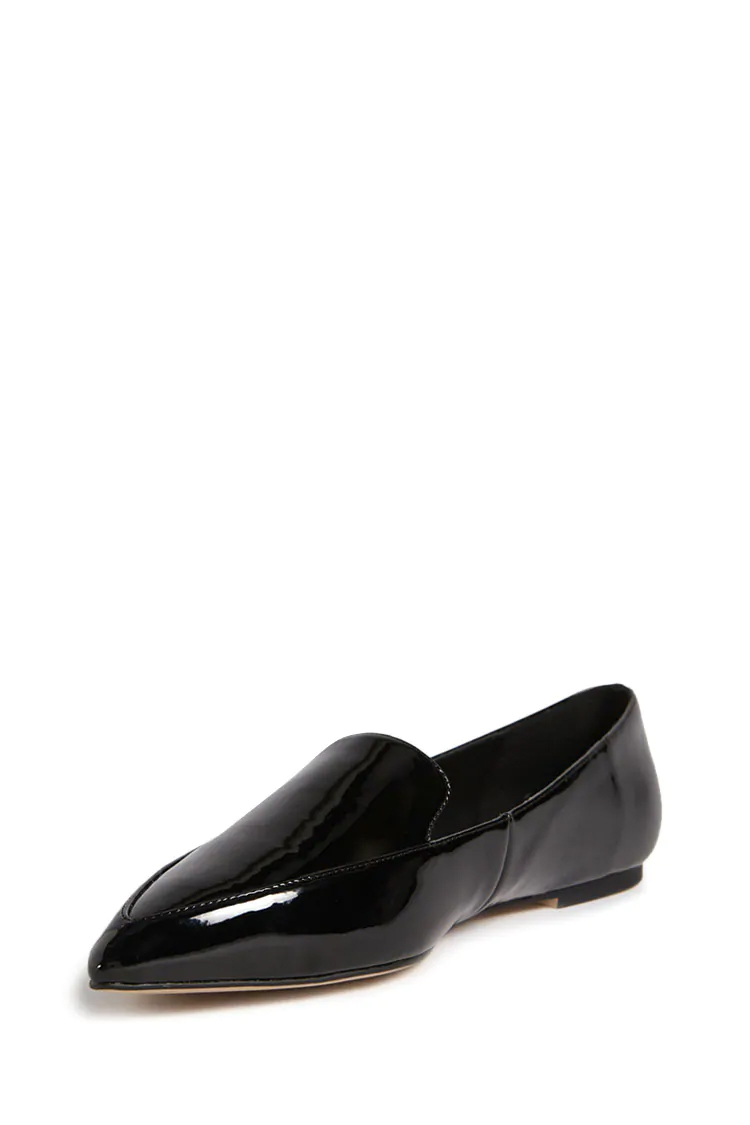 Faux Patent Leather Loafers - Black
