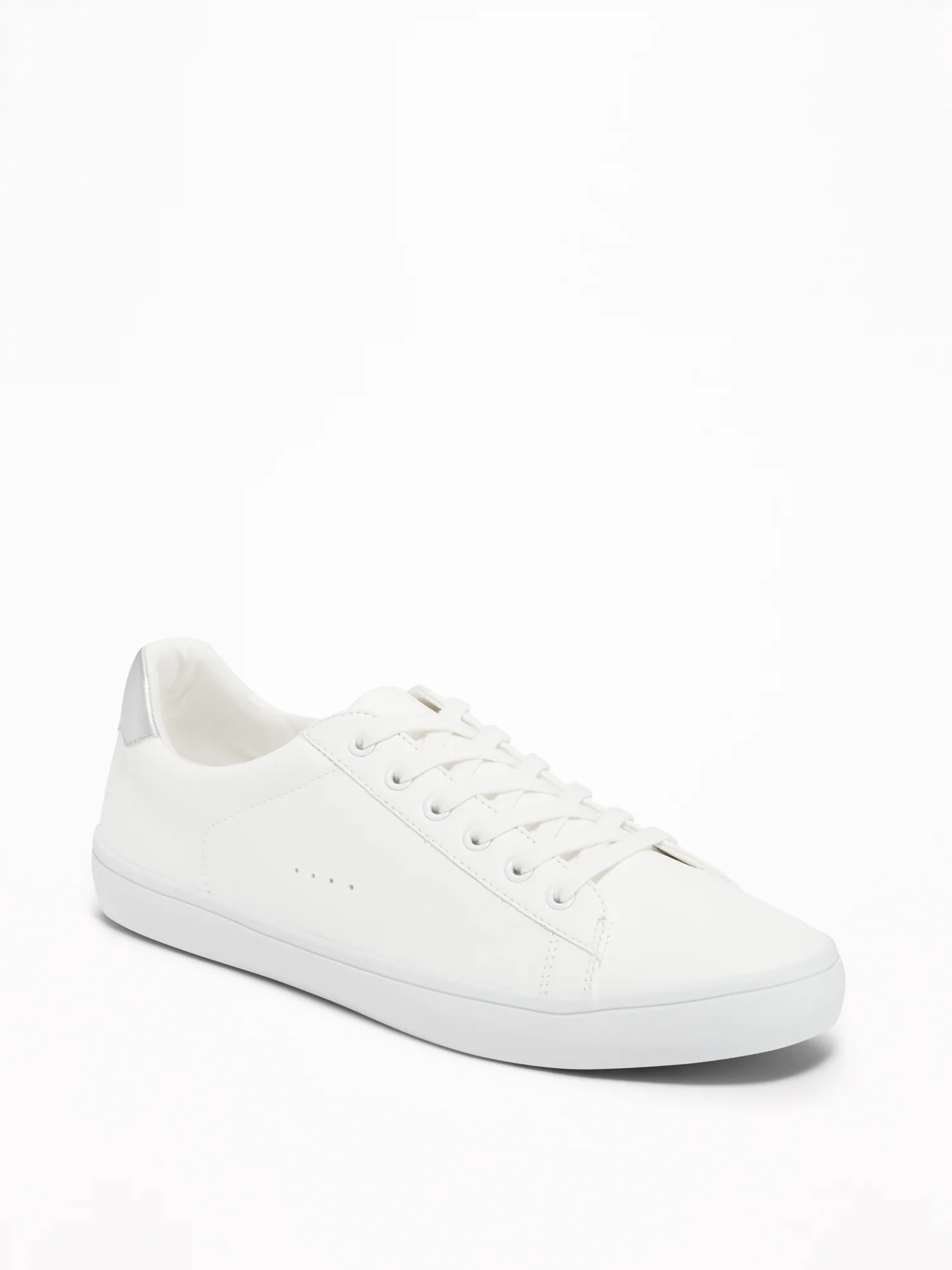 Faux-Leather Classic Sneakers for Women - Brigth White