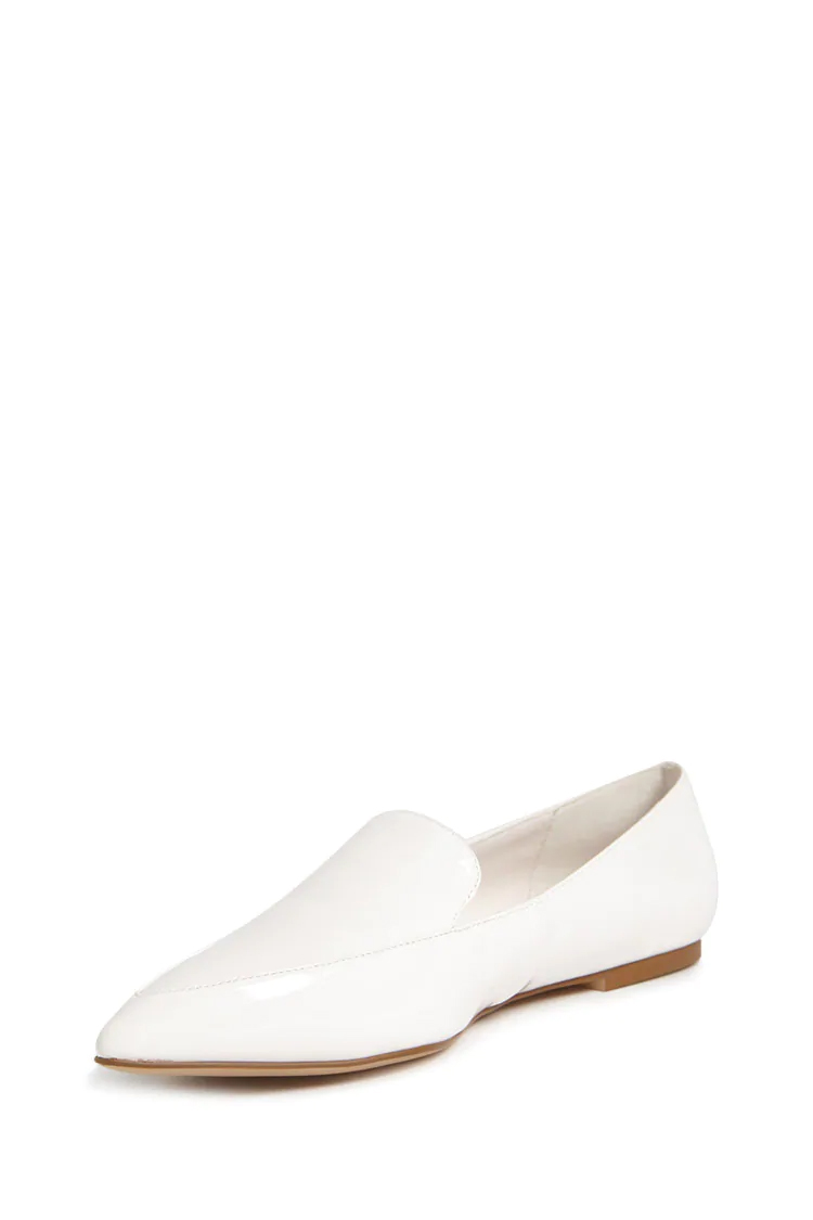 Faux Patent Leather Loafers - White