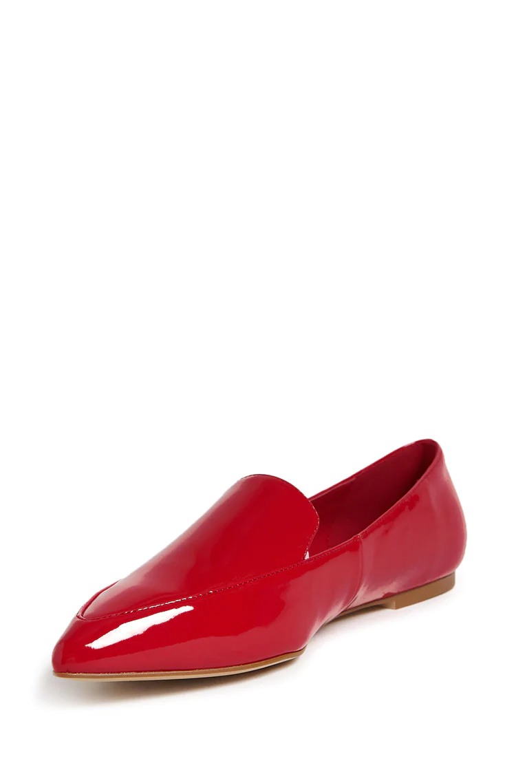 Faux Patent Leather Loafers - Red